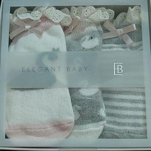 NWT Elegant Baby swan themed socks